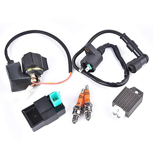 CDI Box Ignition Coil Solenoid Relay Voltage Regulator A7TJC Spark Plug Replacement for 50cc 70cc 90cc 110cc 125cc ATV Dirt Bike and Go Kart