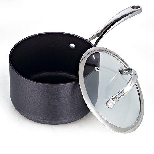 Cooks Standard 3-Quart Hard Anodized Nonstick Saucepan with Lid, Black,NC-00342