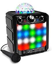 ION Audio Party Rocker Express - Altavoz Bluetooth 40W para Fiestas y Karaoke, con Micrófono y Centro de Karaoke con Pantalla de Luz de Fiesta en formato Domo, Rejilla de Luz LED y Batería Recargable