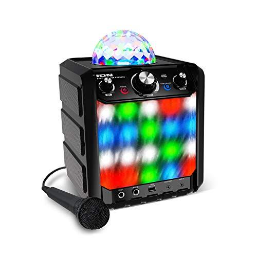 Ion Party Rocker Express - Karaoke Anlage Musikbox Bluetooth Lautsprecher mit Discokugel, LED Lichter, Mikrofon, Echo-Effekt, USB