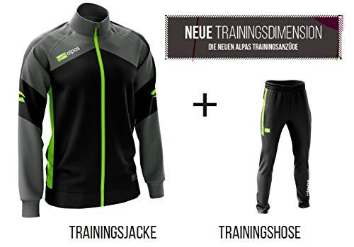 Alpas Trainingsanzug in 5 Farben lieferbar- Kinder/Erwachsene Größen lieferbar - Modell Dynamic, Größe: L, Farbe: schwarz/grau/Neongelb