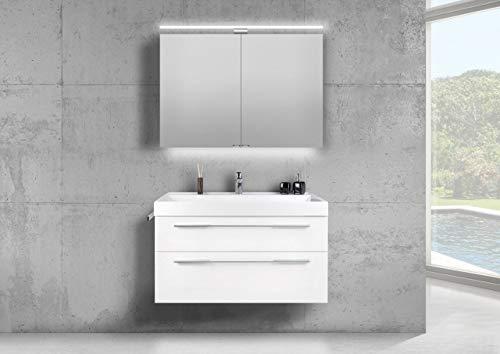 Intarbad ~ Badmöbel Set 100 cm Waschtisch Evermite, mit Spiegelschrank LED, weiß HG Grau Matt Lack IB1122