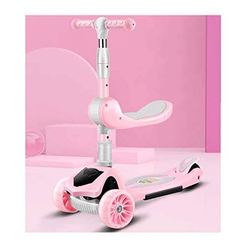 Scooters para Niños Amortiguador de choque PU Wheel Wheel Scooters plegables ruedas de luz Freno de la rueda trasera durante 2-12 años - Scooter plegable con desmontable Antideslizante Scooter Patinet
