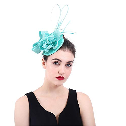 Wenzhihua Fascinator Chapeau Bonnet Derby en Tissu Maille Fleur Chapeau avec Clip et Bande de Cheveux pour Les Femmes Chapeaux de Mariage pour Les Femmes (Couleur : Bleu)