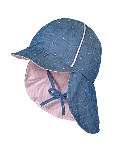 maximo Baby-Mädchen Nackenschutz Mütze, Blau (Denim/Mandelblüte 4023), (Herstellergröße: 49)