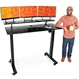 Stand Steady Tranzendesk Power   55 Inch Electric Standing Desk with Built-In Charging   Height Adjustable Stand Up Desk with Clamp On Shelf   Electronic Desk with 1 AC Outlet & 2 USB Ports (55/Black)