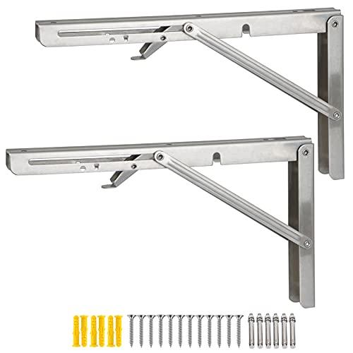 ADDGRACE Juego de 2 soportes plegables de acero inoxidable de alta resistencia para estantes plegables de montaje en pared DIY soportes de ángulo recto para mesa de trabajo plegable (plata) 30,5 cm