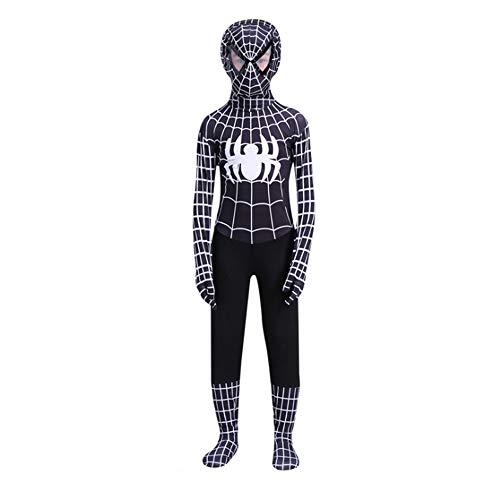 Disfraz The Amazing Spider-Man Halloween Navidad Black Spiderman Cosplay Costume con Mscara Nio Negro (S 100-120)