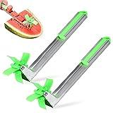 MHwan cortador de sandia, cortadora de melón, Cortador de sandía creativo cortador de sandía de acero inoxidable para cortar melón de sandía, 2 piezas, 30x3,3x7,6 cm