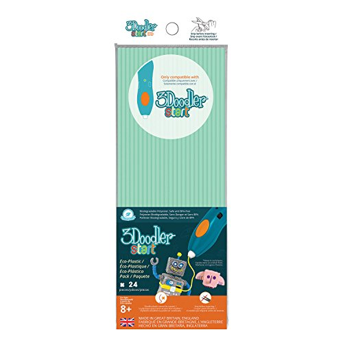 3DOODLER Doodler 62114 - Lote de 3 Tiras para bolígrafo 3D (24 Unidades), Color Azul Claro
