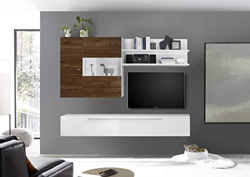 arredocasagmb Parete attrezzata Composizione Sospesa Soggiorno Moderno Bianco Lucido Noce Dark Pensile Porta TV Over 77 Economica