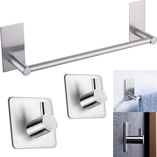 Handtuchhalter ohne Bohren mit 2 Stück Handtuchhaken, Handtuchhalter Edelstahl Gebürstet 40cm Selbstklebend Handtuchstange für Badezimmer Küche