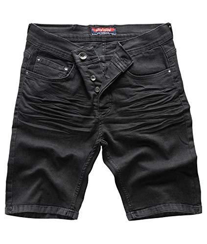 Rock Creek Herren Shorts Jeansshorts Denim Short Kurze Hose Herrenshorts Jeans Sommer Hose Stretch Bermuda Hose Schwarz RC-2202 Nightblack W32