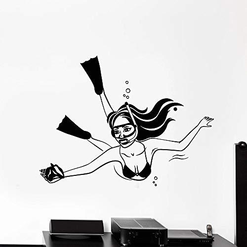 Tianpengyuanshuai Vrouw onderwater duiken vinyl muur decal shell meisje in badpak sticker decoratie sticker huisdecoratie