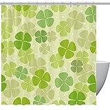 HEOEH St. Patrick's Day grün-gelbes Kleeblatt Stoff Duschvorhang, wasserdichter Badezimmer Polyester Duschvorhang für Badewanne Duschen, 167,6 x 182,9 cm