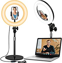 Desk Phone Ring Light for Zoom Meetings - 10.5'' Computer Ring Light for Laptop Video Conferencing/Video Calls/Make up/Video Recording/Photo Lighting, Light Stand with Phone Holder