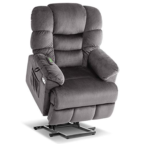 Mcombo Infinite Position Lift Chair with Power Headrest for Elderly People, Lay Flat Power Lift Recliner, Dual Motor, Extended Footrest, USB Ports, 2 Side Pockets, Fabric 7630 (Medium, Grey)