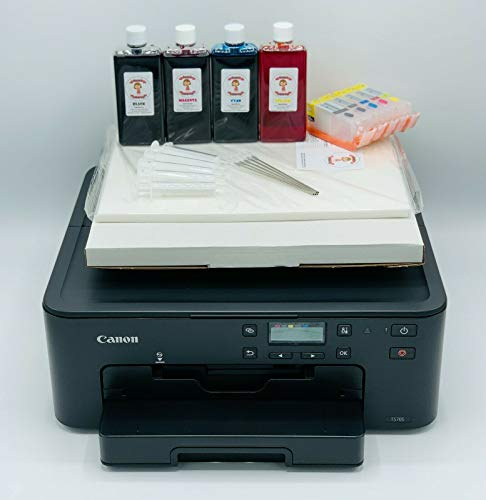 Newest Model Katie's Edible Ink Canon Printer- Canon TS705 WiFi Printer - Super Clear Print Quality - Edible Ink Cartridges Included - 25 Sheets Of Premium Icing Sheets & Wafer Paper Included
