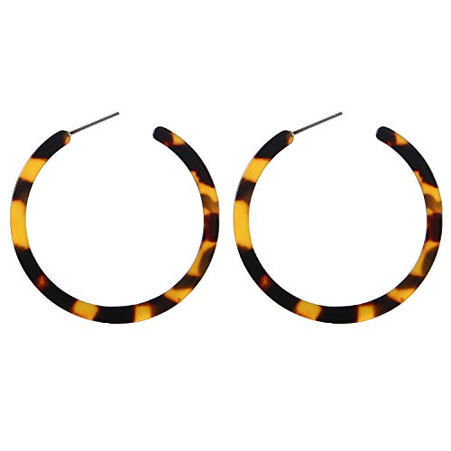 BaubleStar Tortoise Shell Resin Hoop Earrings Acrylic Round Circle Dangle Amber Ear Drops Fashion Jewelry for Women B0106
