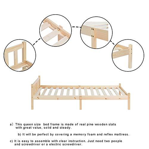 Homy Casa Structure de Lit 90 x 190 cm - Cadre de Lit Simple Moderne - pour Adultes et Enfants en Bois