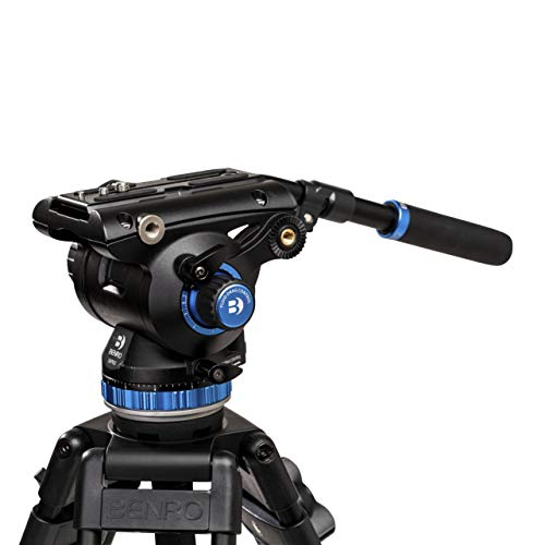 Benro S8 PRO Flat Base Fluid Video Head, 17.6 lb Max, 8 Step Counterbalance (0-7), 3/8'-16 Accessory Mounts, 3/8'-16 Head Mount, w/ Pan Arm (S8PRO)