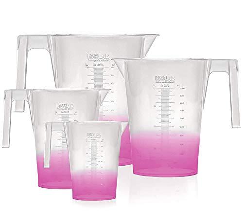 ISOLAB USA - 4 Pieces Premium Set of Laboratory Plastic Beaker With Handle, High Clarity, Polypropylene, Raised Graduations, Autoclavable, Lab Pitchers, (Beakers w/Handle, 4)