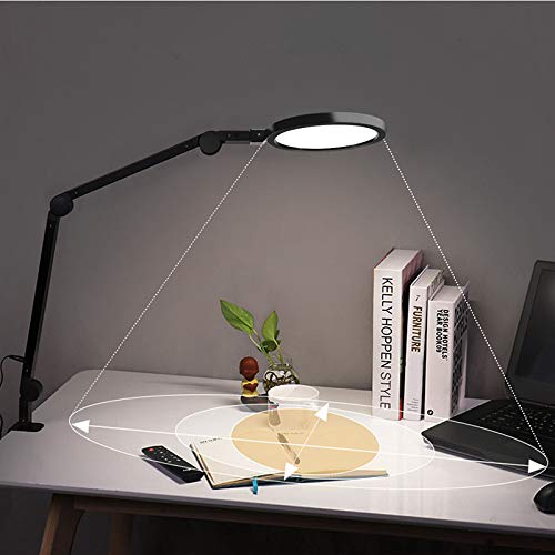 Desk lamp with Clamp, Wellwerks Eye-caring Swing arm lamp with Touch control, Stepless dimming, 10/45 minute Auto Timer, Modern Architect Table Lamp for Task Study Reading Working/Home Dorm Office