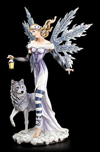 Statuetta di elfo invernale con lupo e lanterna – Fata Fairy Fantasy