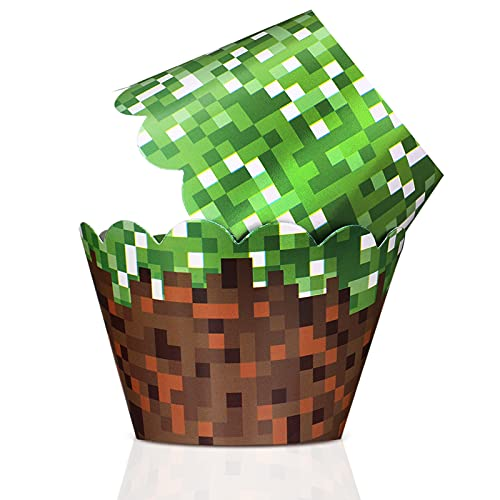 48 Pieces Miner Themed Cupcake Wrappers Decorations for Birthday Pixel...