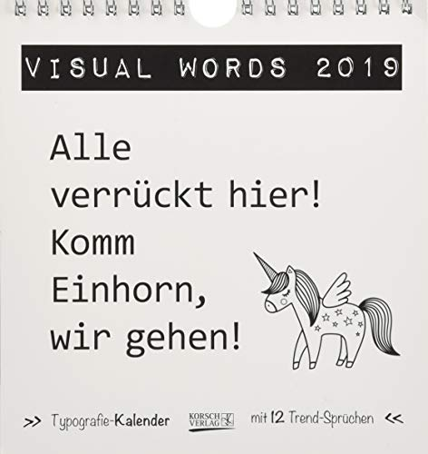 Visual Words Black (PK) 235119 2019: Aufstellbarer Typo-Art Postkartenkalender. Jeden Monat ein neuer Spruch. Hochwertiger Tischkalender. Mit 12 Postkarten.