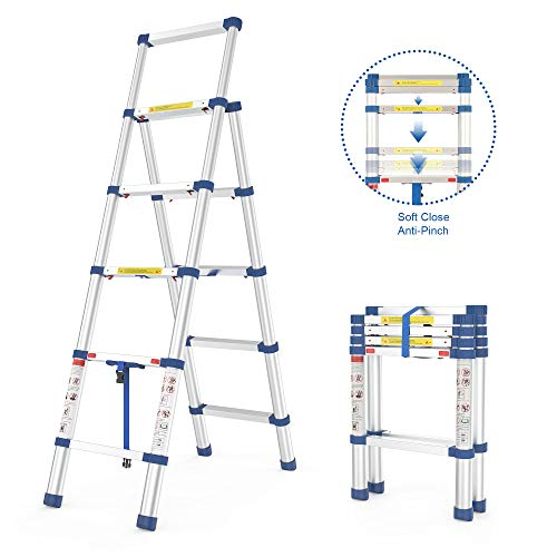 Sotech 5 Steps Ladder,4.5+5.5 ft Folding Telescoping Ladder,Portable Aluminum Extension Telescopic Ladder, A-Frame and Safety-Lock, Multi Position,Soft Close, Anti-Slip, Lightweight,Capacity 330 Lbs