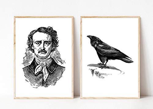 Kunstdruck Din A4 ungerahmt 2-teilig Edgar Allan Poe Portrait Autor Schriftsteller Rabe Nevermore Horror Gothic Poster Bild