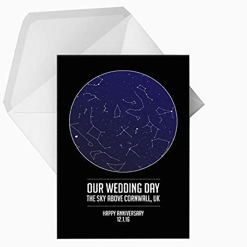 Gepersonaliseerd onze trouwdag ster/sterrenbeeld/nacht hemel wenskaart - elke woorden/locatie/datum - cadeau-idee