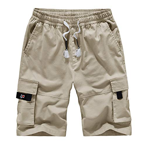LABEYZON Men's Outdoor Casual Elastic Waist Twill Cotton Relaxed Fit Cargo Shorts for Men (Khaki 36)