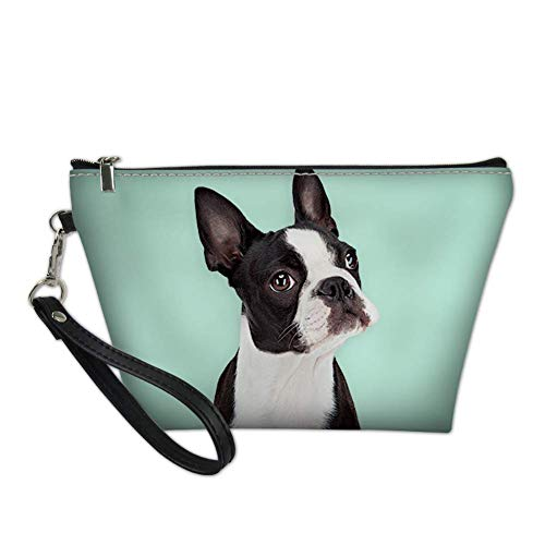 AFPANQZ Boston Terrier Zipper Makeup Bag Female PU Leather Cosmetic Bag with Removable Strap Toiletry Train Case Bag Green