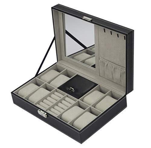 HUAHUA Watch Bander Box Multi-función de reloj de cuero de la PU caja del anillo, caso de almacenamiento de reloj de la joyería Organizador Pantalla con hebilla de metal con llave Caja de exhibición d