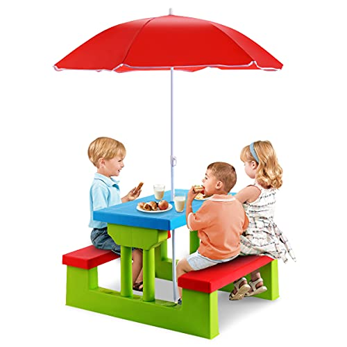 GYMAX Kids Picnic Table, Garden Bench Set with Detachable Parasol, Indoor Outdoor Children Activities Play Table (Green + Red + Blue)