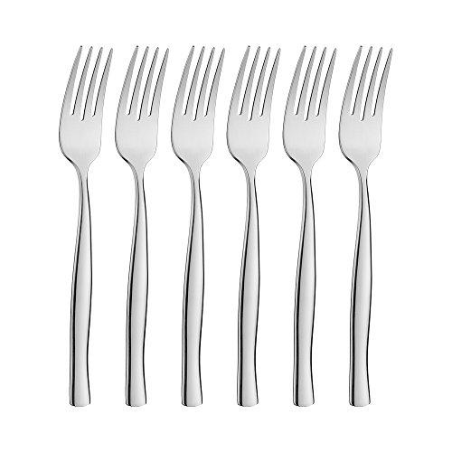icxox Tafelgabeln Menuegabel-Set 6 Stück, 20,7cm, Edelstahl 18/10 (Silber)