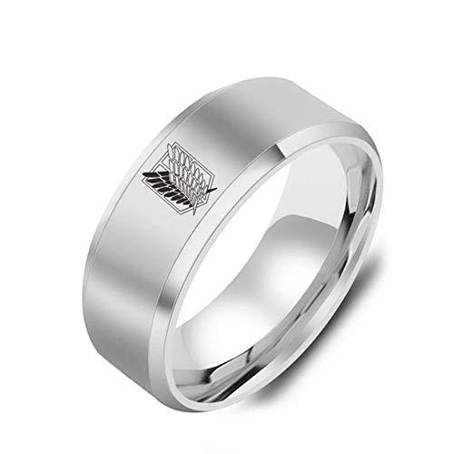 HMOOY Angriff auf Titan Ring, Flügel der Freiheit Logo Edelstahlring Titan Stahl Paar Ring Polierter Ehering Schwarz/Silber Anime Ring Angriff auf Titan Schmuck für Männer Jungen (Silber, 8)