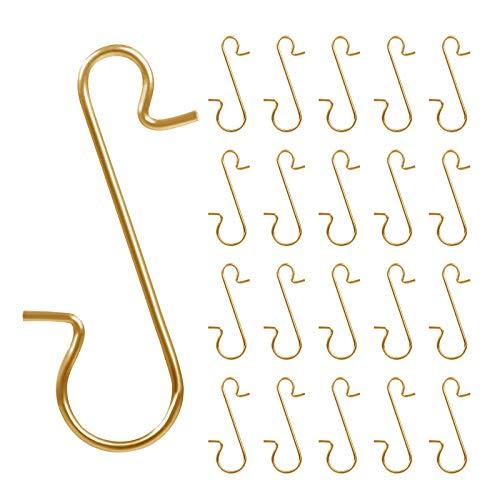 Naler 120 Kugelaufhänger S-Haken Schnellaufhänger Klein für Weihnachtskugel Weihnachtsschmuck - Gold
