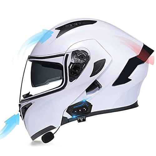 COKECO Casco De Moto Modular Bluetooth Integrado,con Visor Solar Doble Antivaho Casco Anticolisión De Seguridad Certificado ECE para Hombres Mujeres Adultos Casco Integral De Motocicleta ⭐
