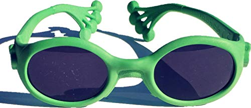 Animals Sunglasses Froggy, gafas de sol para niños de 6 meses a 1, 2, 3 años, lentes para PC UNBREAKABLE UV 400 categoría 4, montura plegable e indestructible, Made in Italy, verde
