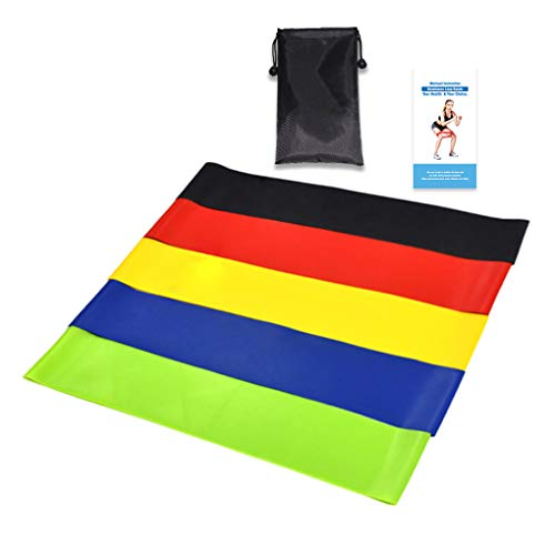 Shangjunol 5pcs/Set Workout Resistance Bands Loop Fitness Yoga Leg Strength Flexibility Exercise Band Elastic Stretch Strap