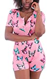 MissShorthair Short Sleeve Onesies for Women, Onesie Pajamas for Women Shorts with Butt Flap ( Pink Butterfly, L )