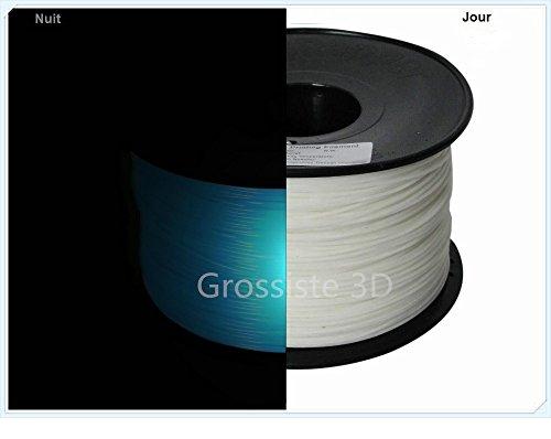 Grossiste3D - Filamento in PLA per stampante 3D, 1,75 mm, colore: blu fosforescente, bobina da 1 Kg