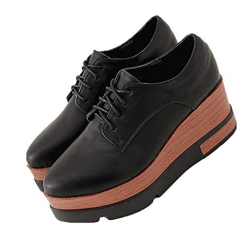 Zapatos de tacón de cuña con Cordones, cómodos para Mujeres, Informales Diarios, Boca Profunda, Primavera y otoño, Zapatos Gruesos, Punta Puntiaguda