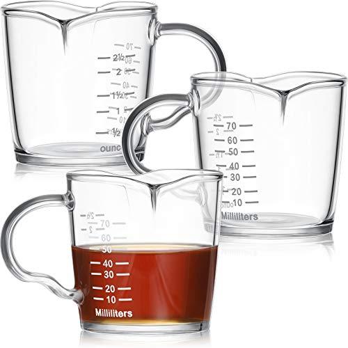 3 Pieces Double Spouts Measuring Cups Espresso Shot Glass 3-Ounce Triple Pitcher Barista Double Spouts with Pouring Handle