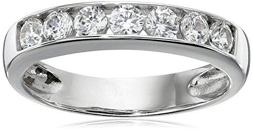 Sterling Silver Platinum-Plated Swarovski Zirconia Round Channel Band Ring, Size 7