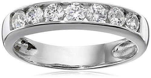 Sterling Silver Platinum-Plated Swarovski Zirconia Round Channel Band Ring, Size 7