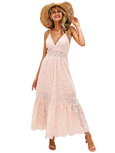 BerryGo Women's Embroidery Pearl Button Down Dress V Neck Spaghetti Strap Maxi Dress Pink